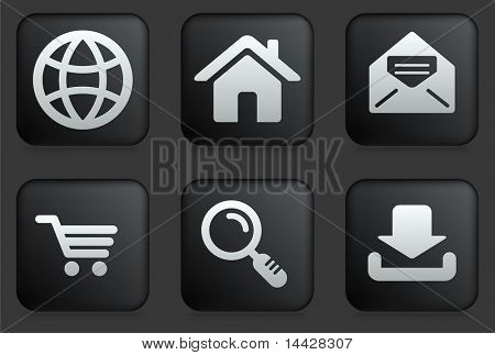 Internet Icons on Square Black Button Collection Original Illustration