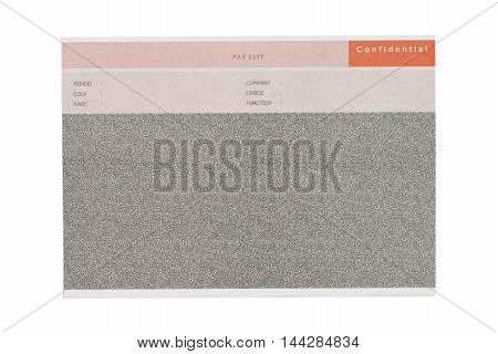 carbon salary slip isolated on white background.