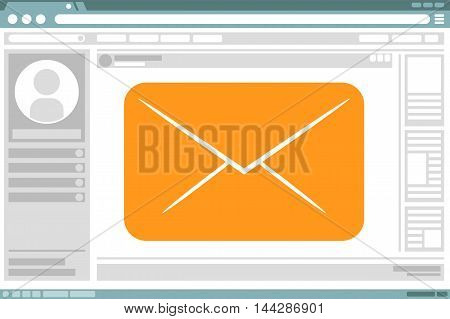 A vector illustration of nterface design with mail letter icon