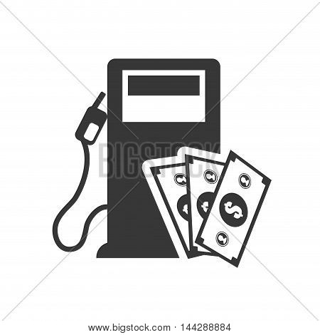 bills dispenser petroleum gasoline oil industry silhouette icon. Flat and Isolated design. Vector illustration poster