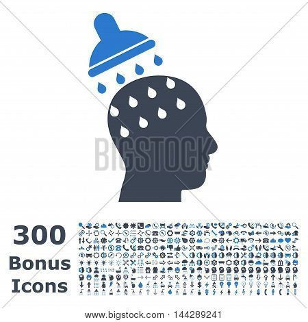 Brain Washing icon with 300 bonus icons. Vector illustration style is flat iconic bicolor symbols, smooth blue colors, white background.