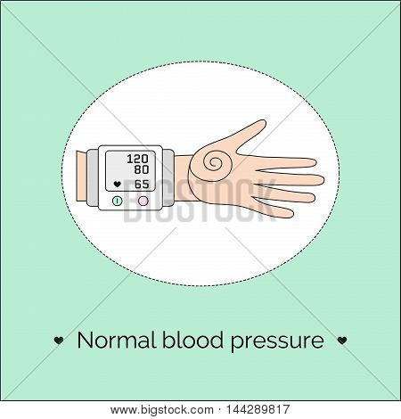 Vector illustration with hand and tonometer. Screen of automatic sphygmomanometer with indicators of normal blood pressure and heart rate.