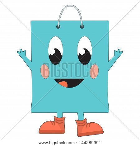 Happy cartoon shopping bag. Vector illustration isolated on white