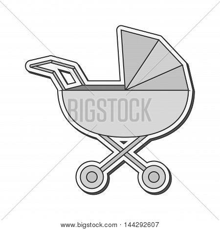 flat design baby stroller icon vector illustration