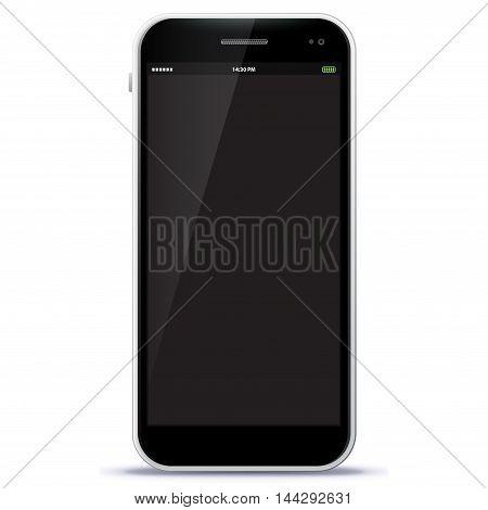 Black Mobile Phone Vector Illustration isolated on white.