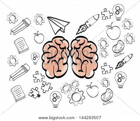 brain pencil gears puzzle paperplane rocket apple big and great idea creativity icon set. Sketch and draw design. Vector illustration