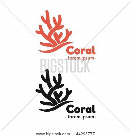 Coral silhouette vector illustration. Marine logo graphic design elemets.