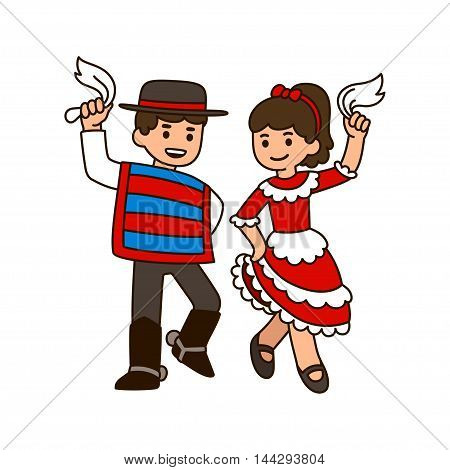 Cute cartoon children dancing Cueca traditional dance in Chile. Boy and girl in national costumes with white handkerchiefs.