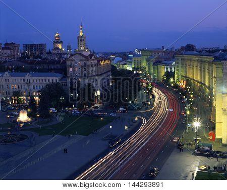 Illuminated Khreshchatyk street. Top view. Kiev Ukraine.