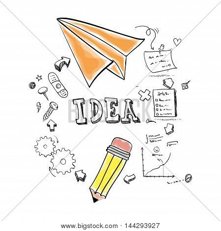 paperplane pencil gears big and great idea creativity icon set. Sketch and draw design. Vector illustration