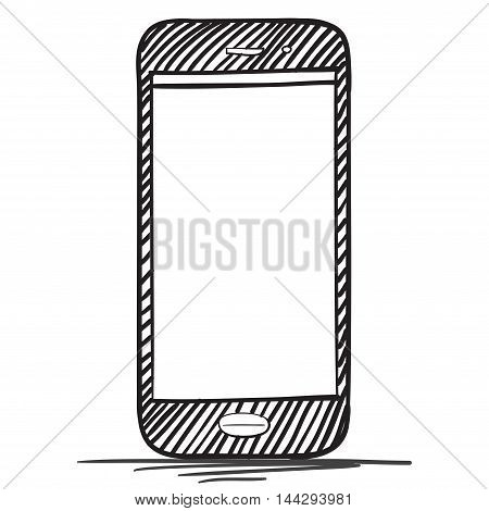 Smart Phone vector drawing illustration isolated on white.