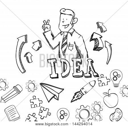 businessman paperplane apple rocket pencil book gears big and great idea creativity icon set. Sketch and draw design. Vector illustration