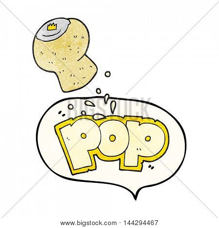 freehand speech bubble textured cartoon champagne cork popping