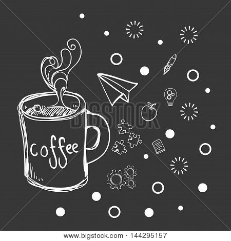 coffee mug paperplane puzzle gears rocket apple big and great idea creativity icon set. Sketch and draw design. Vector illustration