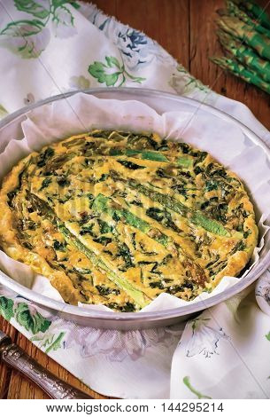 Vegetable Frittata, Italian Omelet, Italian Omelette(Frittata) with Asparagus and Spinach,