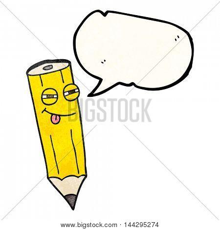 happy freehand drawn texture speech bubble cartoon sly pencil