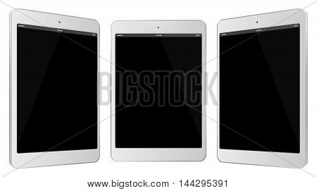 White Tablet Computer Vector Illustration isolated on white.