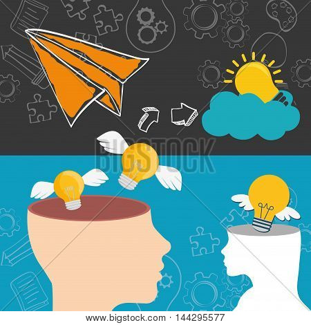 paperplane head bulb wings cloud big and great idea creativity icon set. Sketch and draw design. Vector illustration