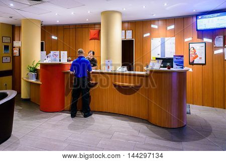 BUDAPEST, HUNGARY - AUGUST 18, 2014: Reception of the Ibis hotel on the Heroes Square in Budapest, Hungary. ibis is an international hotel company, owned by Accor hotels.