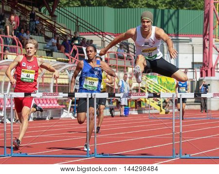KAPFENBERG, AUSTRIA - AUGUST 9, 2015: Thomas Kain (#27 Austria) participates in the national track and field championship.
