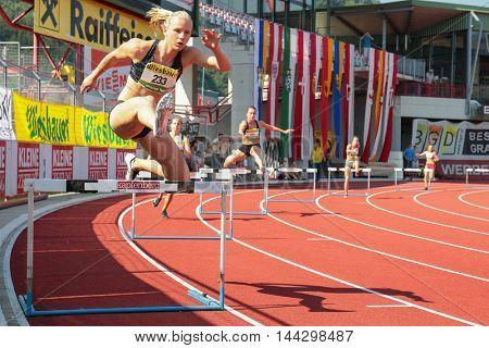 KAPFENBERG, AUSTRIA - AUGUST 9, 2015: Verena Preiner (#233 Austria) participates in the national track and field championship.