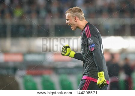 VIENNA, AUSTRIA - JULY 29, 2015: Jasper Cillessen (Ajax) yells at his teammates in an UEFA Champions League qualification game.