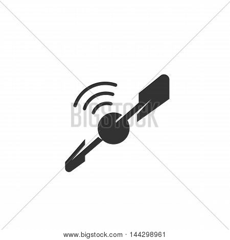 Vector Satellite icon isolated on a white background. Satellite logo in flat style. Simple icon as element for design. Vector symbol, sign, pictogram, illustration