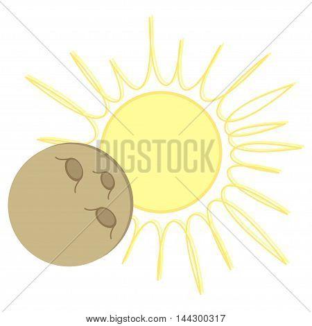 Solar Eclipse flat cartoon design. Vector illustration with sun and moon