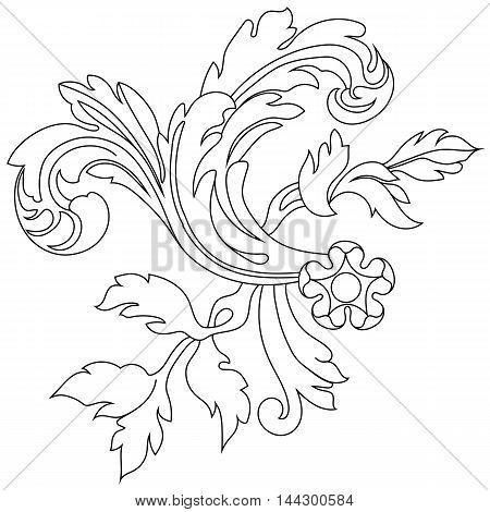 Vintage ornament, baroque ornament, decorative ornament, graphic ornament,  royal ornament, silhouette ornament, scroll ornament, vine ornament. pattern, Vector.