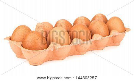 Dozen eggs. isolated, white  background. Selective focus.