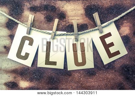 Clue Concept Pinned Stamped Cards On Twine Theme