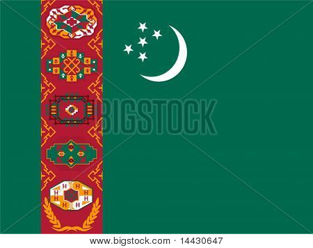 Turkmenistan national Flag