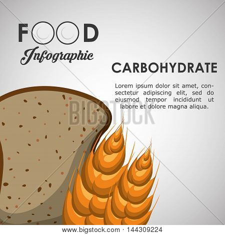 carbohydrate bread wheat ear healthy and organic food nutrition lifestyle icon set. Colorful and flat design. Vector illustration