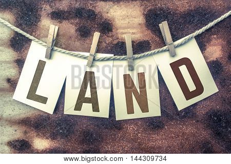 Land Concept Pinned Stamped Cards On Twine Theme