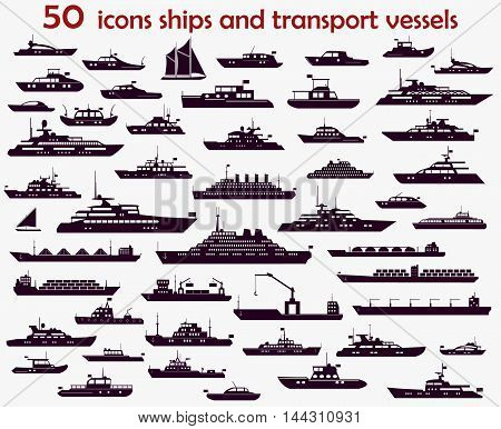 50 vector icons of marine vessels motorboats yachts and cargo ships.