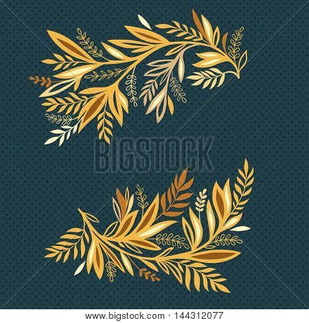 Floral elements for greeting card background