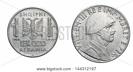 twenty 20 cent LEK Albania acmonital Coin 1939, fascism age in Albania occupation of its territory, double head eagle on back and helmed Vittorio Emanuele III Kingdom of Italy on front, Mint of rome