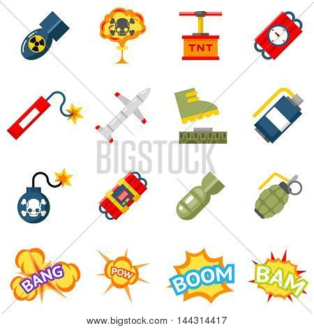 Bomb flat icons. Bombs and explosives pictograms. Explosion, tnt detonation, power bang, weapon signs. Vector illustration