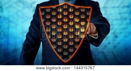 Businessman activating a virtual antivirus shield covering his chest. Cybersecurity metaphor and information technology concept for a virtual firewall network defense and virus removal. Copy space.