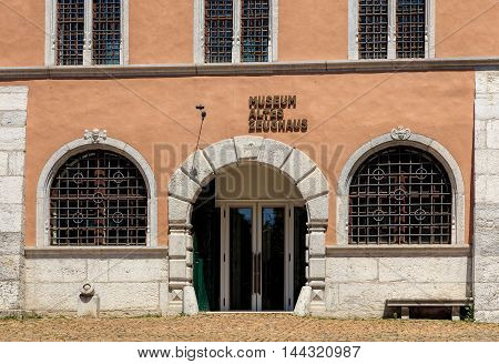 Solothurn, Switzerland - 10 July, 2016: entrance to the Old Arsenal Museum (German: Museum Altes Zeughaus). The museum has one of the largest in Switzerland collection of the historic weapons and armaments.