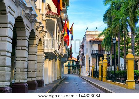 Early morning view of a street passing next to Bolivar Plaza in Cartagena Colombia