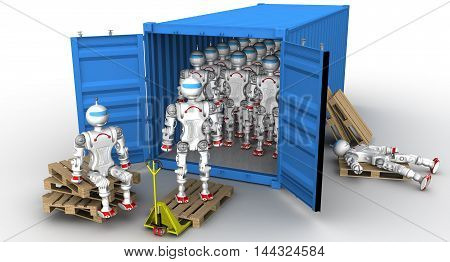 Robots in the cargo container. A large number of robots standing in an open freight container. Unloading or loading of the container. Isolated. 3D Illustration