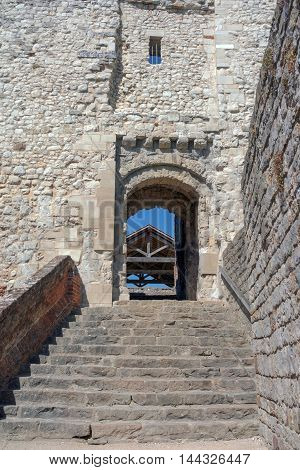 The ancient architecture of Farnham Castle Keep in Farnham, Surrey