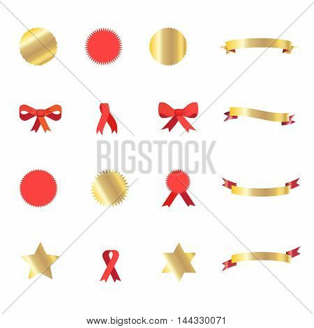 Ribbon. Set of ribbons and labels, ribbon bow tie, cutting ribbon, stars stickers and gold ribbon banners. Vector illustration set.