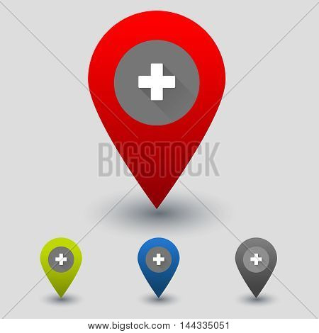 Colorful navigation signs with flat medicinal cross. Vector medical centre navigation sign