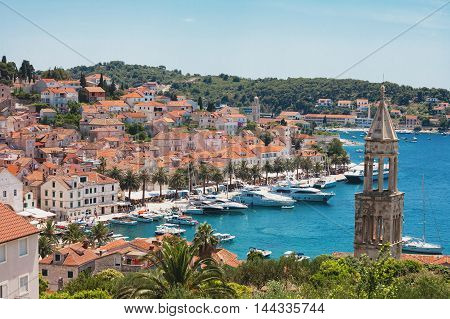 View of Hvar city with the harbor in Croatia