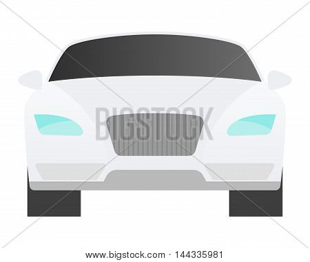 Car sedan front view vehicle transport type design sign technology style vector. Generic sedan car design flat vector illustration isolated on white. Transport sedan object