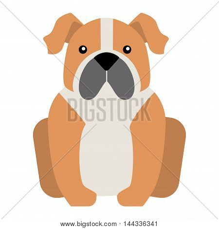 Flat dog pet sitting cute dog vector. Flat dog animal pet vector illustration. Home cute sitting dog flat style. Dog vector silhouette isolated on white background