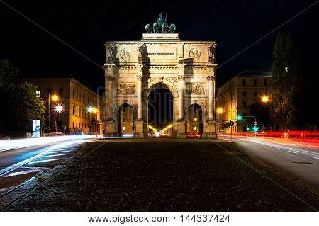Munich Siegstor Landmark Monument Long Exposure Night