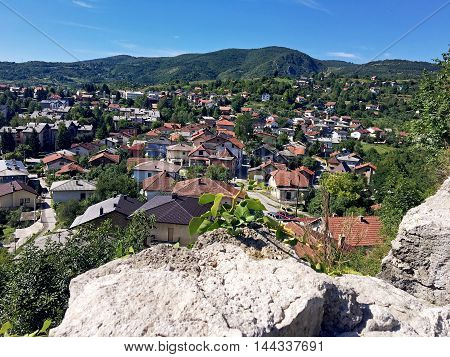 Panoramic view over city from old castle in the jajce,Boznia and Herzegovina